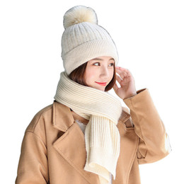 Knitted Hair Hat NZ - Genuine Rabbit Hair Hat And Scarf Beige Scarf Cap 2 Pieces   Set Women Thick Knit Plus Velvet Beanie Hats Outdoor Warm Set Gift