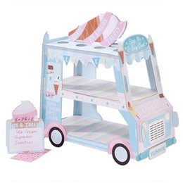 Cupcakes Cake Designs Australia - Three-tier New Design Ice Cream Van Cars Display Standcar Cake Stand Paper Cupcake Holder Wedding Decor Q190606