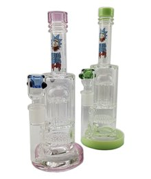 Water Pipe Splash Guard Australia - Swshop Glass Bongs Highly Recommended Double 8 Arm Tree Percolator Splash Guard Glass Water Pipes thick bong 14.4mm joint