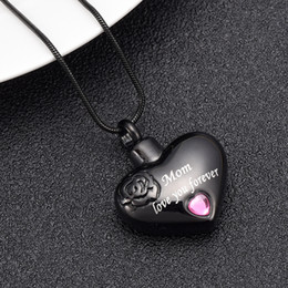 cremation necklaces for ashes Australia - IJD10034 Stainless Steel Mom Love You Forever Heart Cremation Necklace Funeral Urn Ashes Holder Human Cremation Casket for Loved Ones Ash