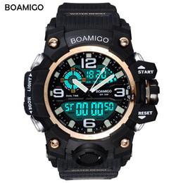 Men S Big Watch Australia - BOAMIGO S Shock Men Sports Watches Big Dial Quartz Digital Watch For Men Luxury Brand LED Military Waterproof Men Wristwatches