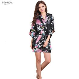 Wholesale robe dresses for women resale online - Silk Satin Wedding Bride Bridesmaid Robe Floral Robe Short Kimono Robe Night Bath Bathrobe Fashion Dressing Gown For Women