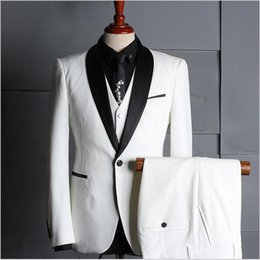 royal white suits Canada - Fashion Men's Suits White Clothing Set Three-Piece (Blazer+Pant+Vest) Groom Wedding Tuxedos High Quality Business Suits For Sale