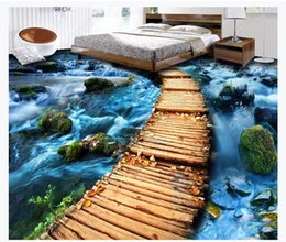 River Bridge Painting Australia - Custom 3D photo self-adhesive PVC floor mural wallpaper Wooden board bridge path stone river 3D bedroom waterproof floor painting