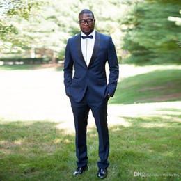 $enCountryForm.capitalKeyWord NZ - Royal Blue Slim Fit Wedding Tuxedos One Button Black Shawl Lapel Two Pieces Suit Custom Made Groom Wears(Jacket+Pant+Bow Tie)