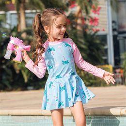 $enCountryForm.capitalKeyWord NZ - Long Sleeve One Piece Swimsuit Girls Print Children Swimwear Child Skirt Swim Suit Kids Rash Guard Bathing Suit Zipper Beachwear Y19072601