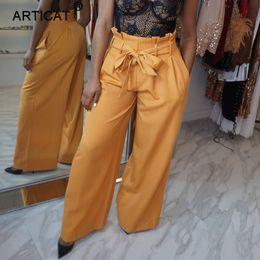 $enCountryForm.capitalKeyWord Australia - YIBO Casual Ruffles Wide Leg Pants Women 2018 High Waist Belted Loose Trousers Elegant Office Long Harem Pants Female party