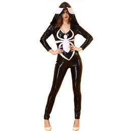 Women Sexy Black Halloween Costumes NZ - Black Halloween Women Sexy White Spider Printed Rompers Costume Female Party Faux Leather Jumpsuits Size Smlxl