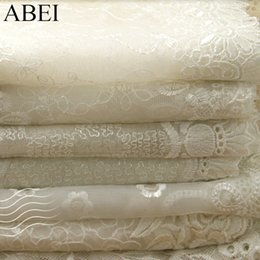 Handmade wedding dolls online shopping - 9 cm yards White Beige Embroidered Mesh Lace Fabric Trims for Wedding Party Dress DIY Doll Clothes Ribbon Handmade Patchwork