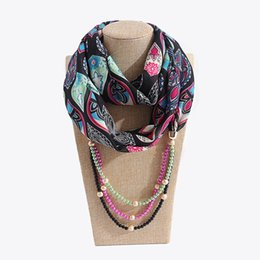 MusliM chiffon scarfs online shopping - Bohemian Beads Multilayer Pendant Choker Scarf Necklace Woman Muslim Ethnic Statement jewelry scarves Accessories Female