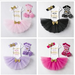 headbands bow Australia - Baby Girl Summer Outfits Set Lovely 1st Birthday Party Bodysuit Romper Lace Mini Skirt Bow Elastic Headband Leggings 4 Pcs Set