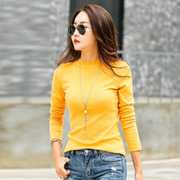 Winter T Shirt Lady Australia - New fashion designer long-sleeved cotton ladies winter coat solid color Poleras Mujer high collar women's T-shirt Camisetas