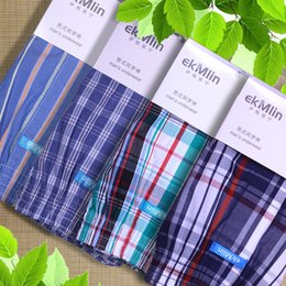 Quality Cotton Boxer Shorts Australia - High Quality ! ekMlin Brand 4-Pack Men's Boxer Shorts Woven Cotton 100% Plaid 50s Combed yarn male Underpant Loose Breathable Y19042302