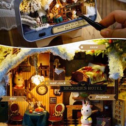 genuine puzzle UK - Box Theater Miniature Doll House 3D Wooden DIY Kits LED Puzzle Model for Children Christmas Birthday Gift