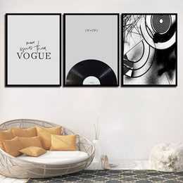 Music Canvas Prints Australia - Wall Art Nordic Poster Prints HD Pictures Vogue Black Music CD Modern Canvas Paintings Princess For Kids Room Home Decoration