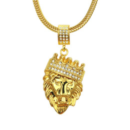 Mens Gold Lion Pendant Australia - Mens Full Iced Rhinestone An crown Lion Tag necklaces pendants Hip hop Cuban Chain Hip Hop Necklace Gold Jewelry For Male