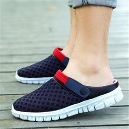 new bird shoes 2019 - Summer sandals and slippers mesh slippers new male bird nest hole shoes set foot slip lazy half WMY60 discount new bird