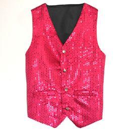 $enCountryForm.capitalKeyWord Australia - Unisex Wedding Stage Show Gold Sequin Vest Waistcoat Dance Party Show Costume Mens Womens Suit Vest Gilet Homme Classic Vests