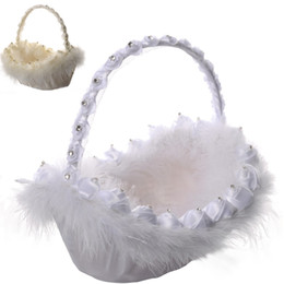 Wholesale Diamond Flower Feather Basket Wedding Ceremony Party Love Case Satin Flowers Girl Basket For Wedding Supplies