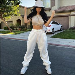 gold harem trousers Canada - Brand New Women Casual Fashion High Waist Hip Hop Dance Sport Running Jogging Harem Pants Sweatpants Jogger Baggy Trousers