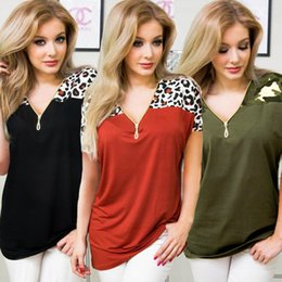 $enCountryForm.capitalKeyWord Australia - 2019 Fashion Women Summer Sexy V-neck T-shirt Printed Leopard Blouse Short Sleeve Zipper Casual Top Lady Sunwear Clubwear