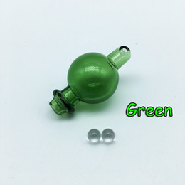 Hole Bong Australia - Glass Bubble Carb Cap With Side Hole And 6mm Quartz Terp Dab Pearls For Quartz Thermal Banger Nails Glass Beaker Bongs Dab Rig