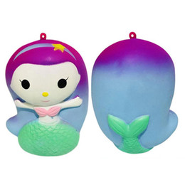Toys for mermaid online shopping - Cute Mermaid Squishy Slow Rebound Reduced Pressure Toy Kawaii Doll Squishies Decompression Toys Phone Straps Charm Pendant Free DHL