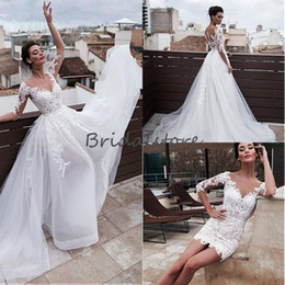 Buttoned Back Wedding Dresses Australia - vintage 2 in 1 Short Wedding Dresses With Detachable Skirts Long Sleeve Sheer Neck Lace Button Back Country Bohemian Bridal Gowns Cheap 2019