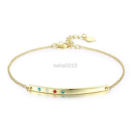 Multicolored Lights Australia - S925 Sterling Silver Bar Multicolored Light Luxury Fashion Bracelet Platinum-plated and Gold-plated Drilling Bracelet for lady