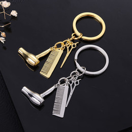 keychain scissors Australia - Fashion Haircut Scissor Comb Hair Dryer Keychain Key Ring Charm silver Gold Plated Key Chain bag hangs Fashion Jewelry Drop Shipping