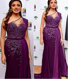 Discount cheap nude chiffon bridesmaid dresses - Purple Lace Beaded 2019 Arabic Evening Dresses One Shoulder Sheath Chiffon Prom Dresses Cheap Sexy Formal Party Bridesma