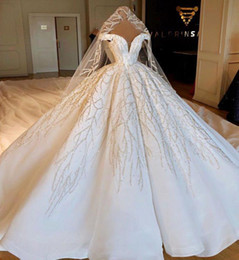 Elastic balls online shopping - Luxury Off The Shoulder Ball Gown Wedding Dresses Beaded Crystals Ruched Chapel Train Wedding Bridal Gowns Real Image CPH039