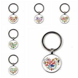 Discount france glasses - Ethnic style key chain Russia United States France Italy Finnish impressionist glass round key ring silver black bronze
