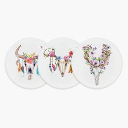 Round Kitchen Sets Australia - Nordic Watercolor Bull Skull Dream Catcher Feather Flower Ceramic Coaster Creative Girl Gift Bar Kitchen Accessories Pad Mat Set