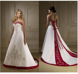 Red White Dresses Australia - Vintage Red And White Satin Embroidery Wedding Dresses Strapless A Line Lace Up Court Train Spring Fall Bridal Gowns vestidos Plus Size