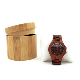 $enCountryForm.capitalKeyWord Australia - LONSY Fashion Round Bamboo Wood Watch Case and Jewellery Gift Boxes Can Carve Logo SK-601