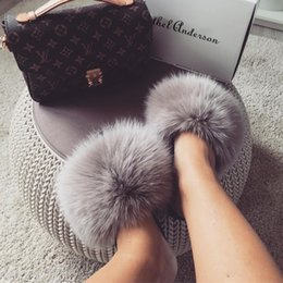 Fox Grey Australia - New Arrival Real Fox Fur Slippers Woman Genuine Raccoon Hair Casual Outdoor Fluffy Fur Shoes Good Quality Holiday Sandals