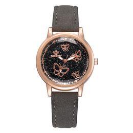 Discount korean watch style - butterfly dial brief style women watches Korean version casual quartz woman clock brand ladies retro wristwatches leathe