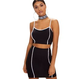 Women Two Piece Suit Vest Australia - Sleeveless Vest Top + Side Striped Skirt Two-piece Suit Women Sexy Camisoles Tops 2019 Summer Fashion Solid Slim Women Outfit