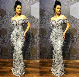 evening gown belt sashes NZ - Grey Mermaid Evening Dress Off Shoulder 3D Floral Appliqued Feather Belt Floor Length Formal Party Gowns Custom Made Prom Dresses