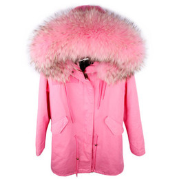 women s down parka sale Australia - Hot sale Maomaokong brand pink rabbit fur lined pink canvas long parka with pink raccoon fur trim hoody Women down coats