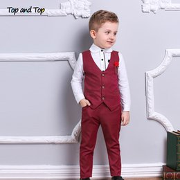 $enCountryForm.capitalKeyWord NZ - Top and Top Fashion Boy Clothes Set Boys Formal Suits Cotton Bow Tie Long Sleeve Shirt+Vest+Trousers 3Pcs Kids Gentleman Outfit