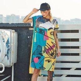 Graffiti Knee Length Dress NZ - New Pre-sale Fashion Printed Dresses For Women Cartoon Graffiti Straight Long T Shirts Dress Streetwear Hip Hop Dance Cloth Q190506