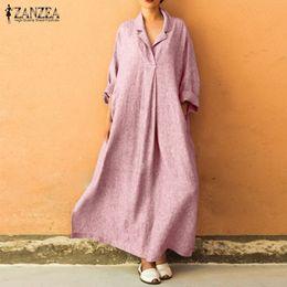1812b048 Zanzea Plus Size Women Dress Cotton Linen Vestido 2019 Autumn Female Casual Shirt  Dresses Long Sleeve Lapel Neck Maxi Vestidos Q190409