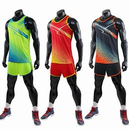 kids tracking suit NZ - Men Women and Kids Vest+Shorts Competition Running Sets Track and field sportswear Sprint Running suit Marathon Clothes