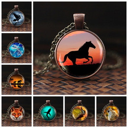 shark glasses NZ - Men Cool Elephant Fox Horse Shark Wolf Pendant Necklace Women Fashion Choker Necklace Wild Animal Glass Cabochon Jewelry Gift