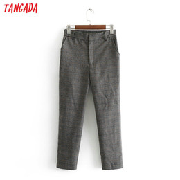 Korean fashion ladies pants online shopping - women plaid grey pants retro vintage elastic waist ladies ankle length pants casual korean fashion trousers