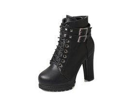 China .Newest Rivets Black Leather Motorcycle Boots For Women High Platform Thick Heel Ankle Boots Stylish Cool Shoes dha24 cheap platform ankle boots thick heel suppliers