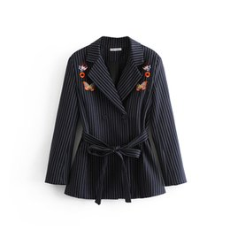$enCountryForm.capitalKeyWord UK - Vintage Embroidery Twill Blazers Women Spring-Autumn Chic Embroidery Suits Office Ladies Elegant Blazer Jackets Belt Tops Femme