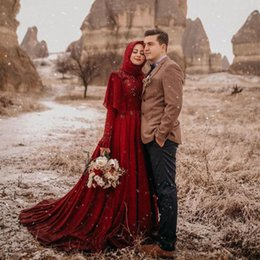 $enCountryForm.capitalKeyWord Australia - Muslim Wedding Dresses A Line Long Sleeves Beads Chiffon Summer Bridal Dresses Burgundy Arabic Plus Size Bride Party Gowns